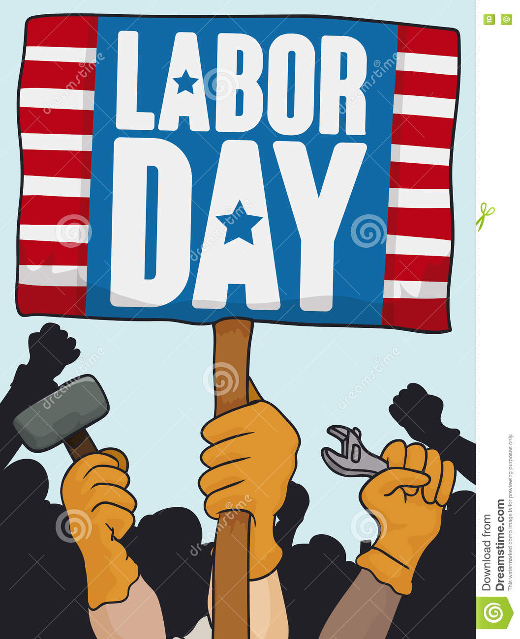 Worker's Marching In Labor Day Celebration, Vector Illustration