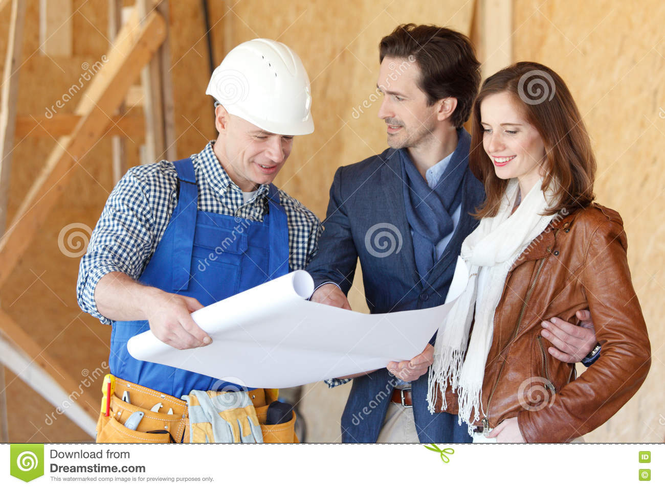 Worker shows hand sign okey stock image 35689969 - House plans for young couples energetic designs ...