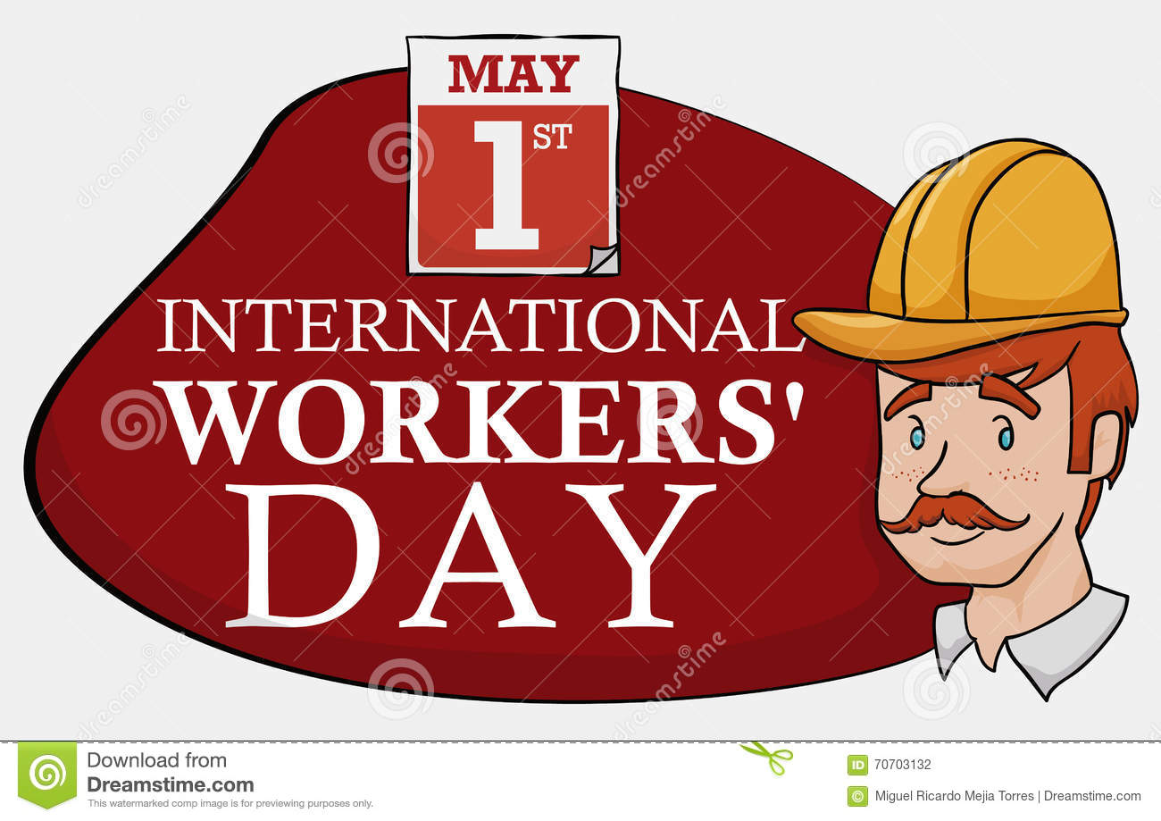 Calendar Illustration Jobs : Worker with sign and calendar for workers day celebration