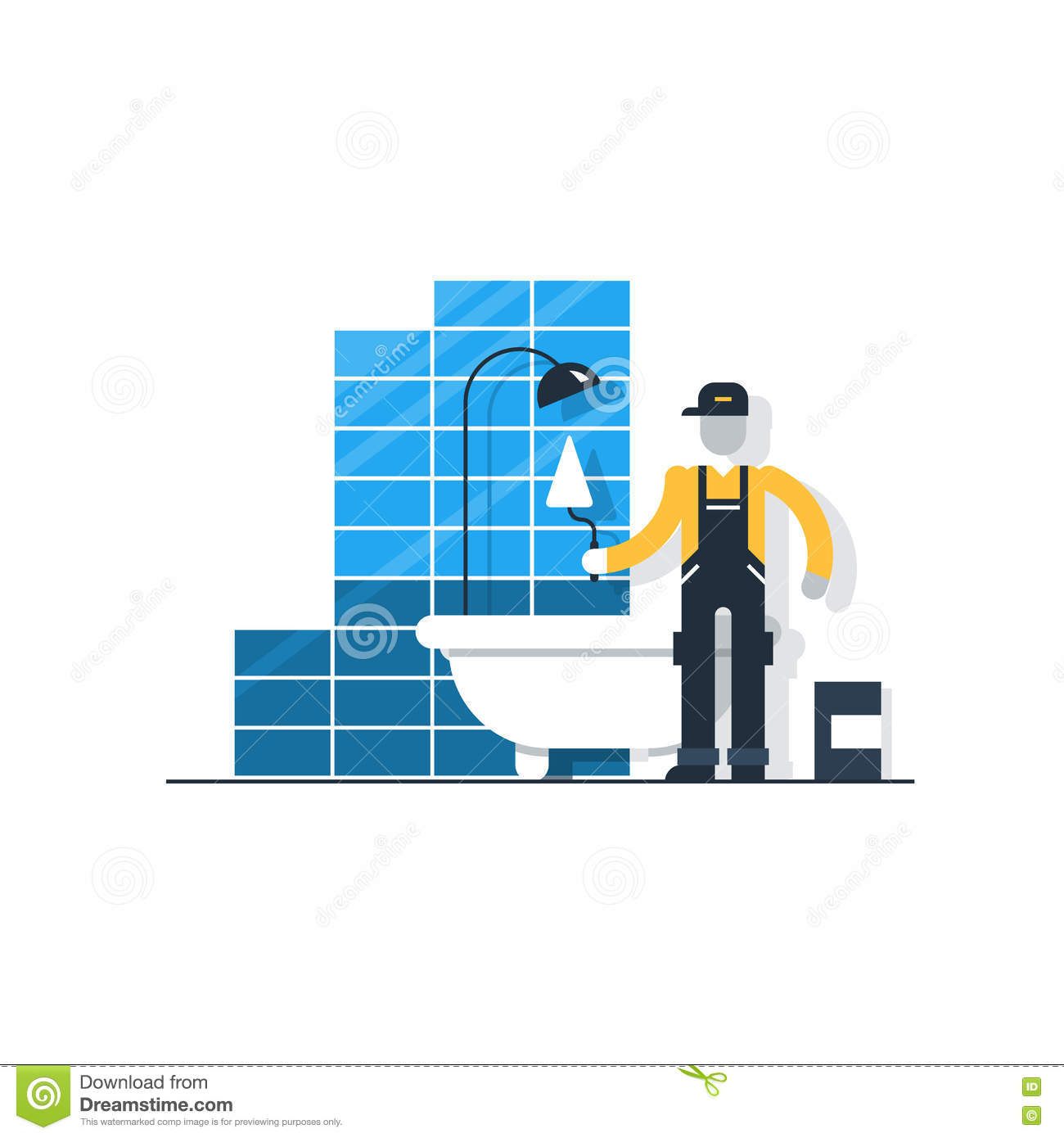 Worker With Spatula In Bathroom Putting Tiles, Home Improvement ...