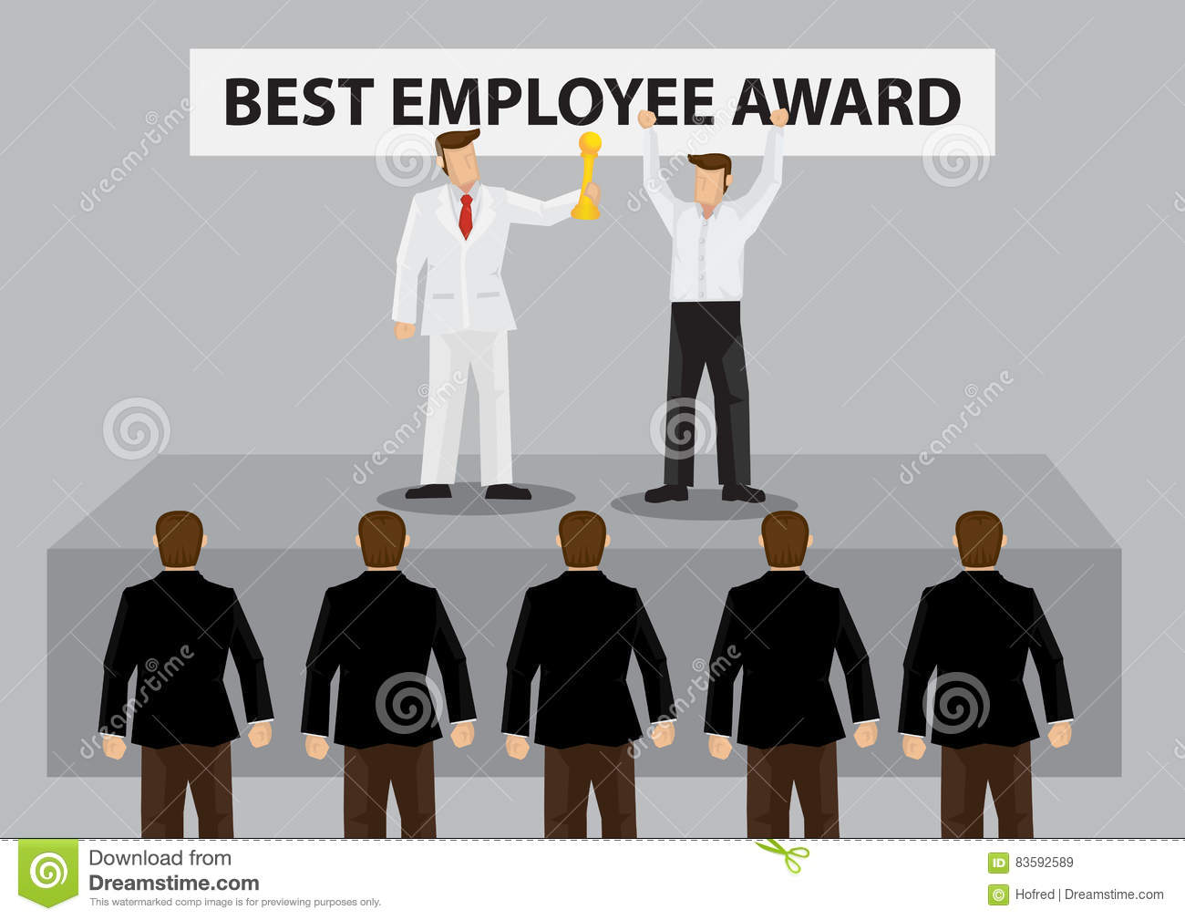 worker on stage receives best employee award trophy vector carto