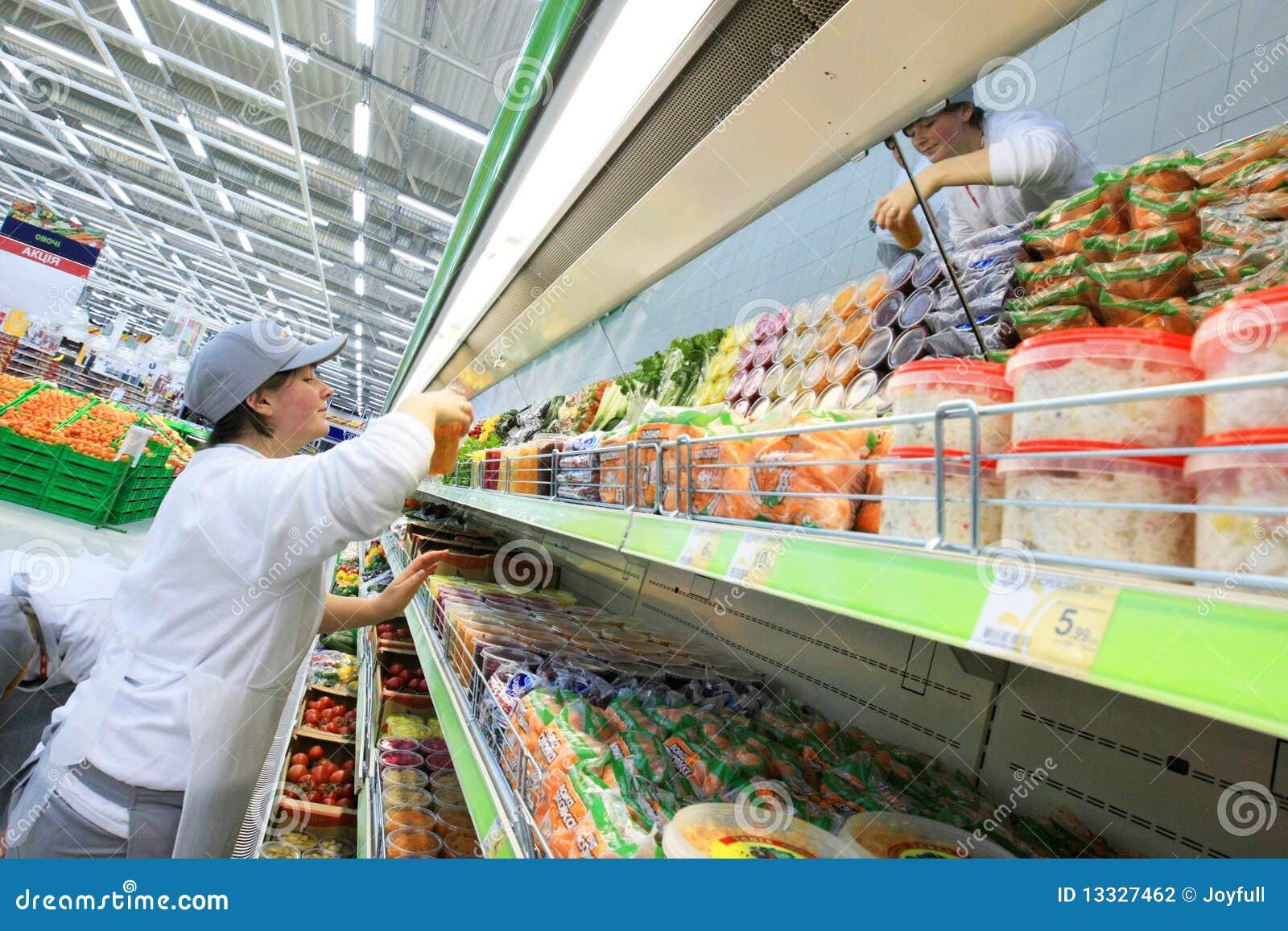 Worker in supermarket