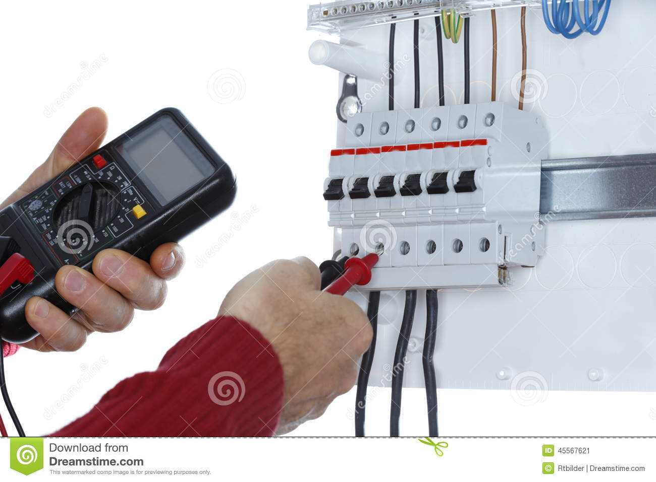 Worker is testing a circuit