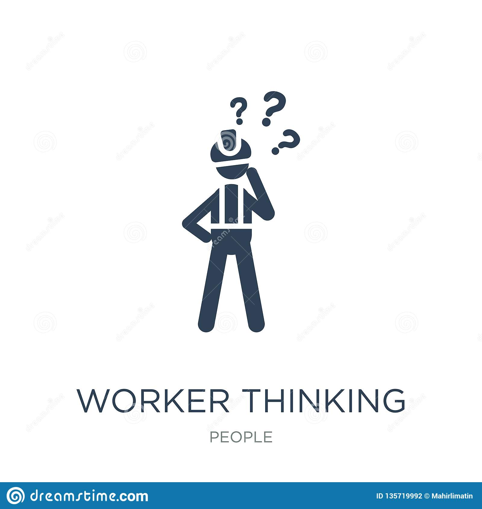 worker thinking icon in trendy design style. worker thinking icon isolated on white background. worker thinking vector icon simple