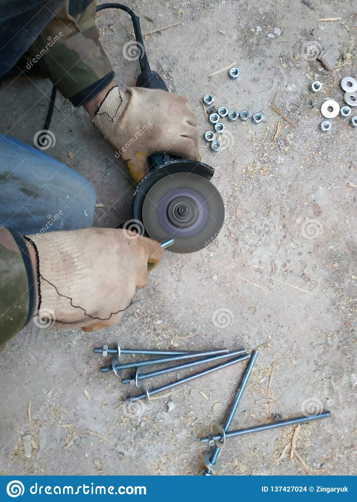 Worker Holding Angle Grinder Stock Photography