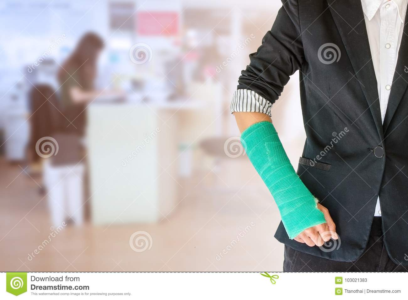 Worker Woman Accident On Arm With Green Arm Cast On Blurred