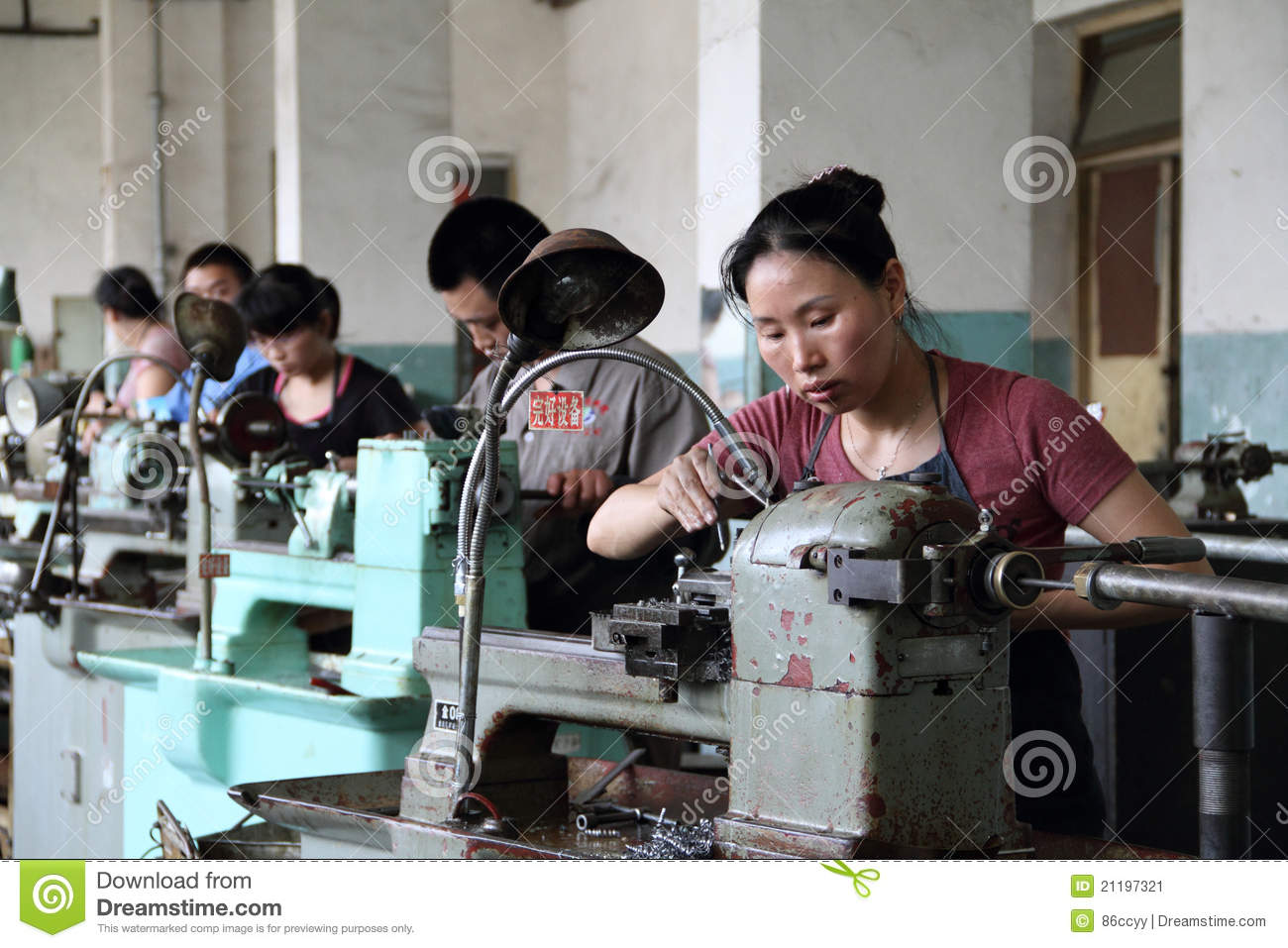 Worker working in chinese factory