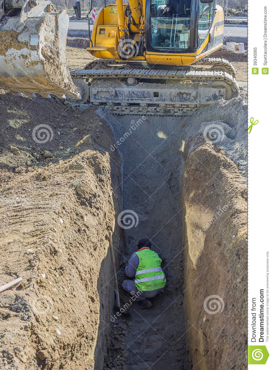 Worker working in trench 3