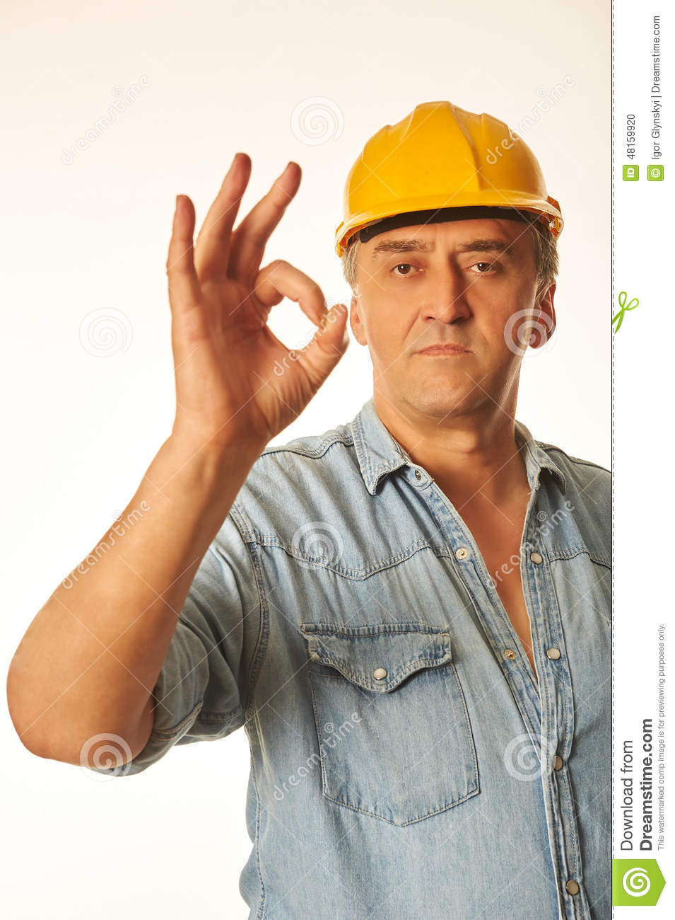 Construction Worker Showing Ok Hand Sign Gesture Stock