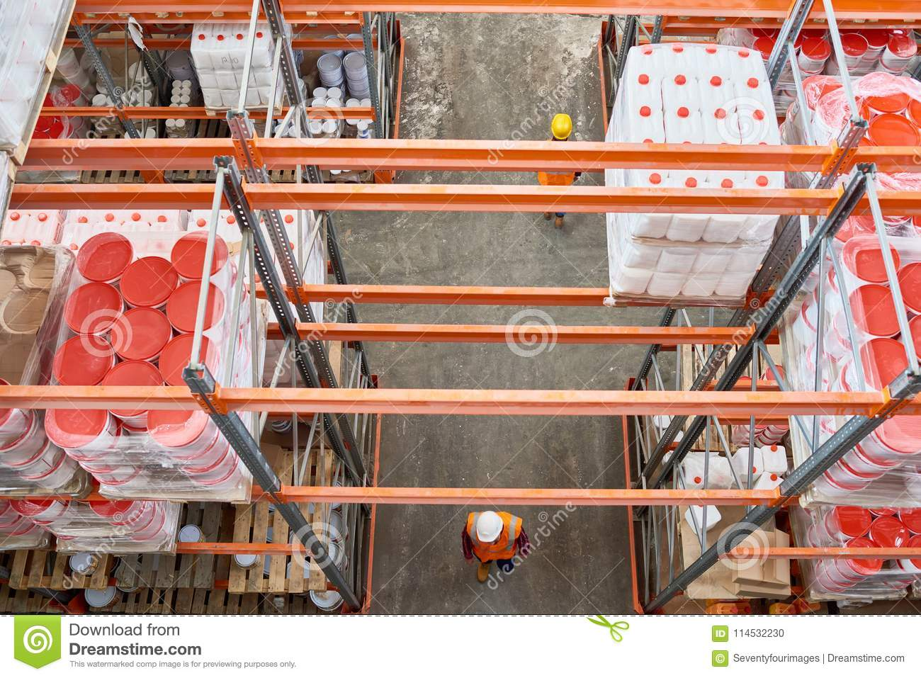 Workers in Big Warehouse stock photo  Image of goods - 114532230