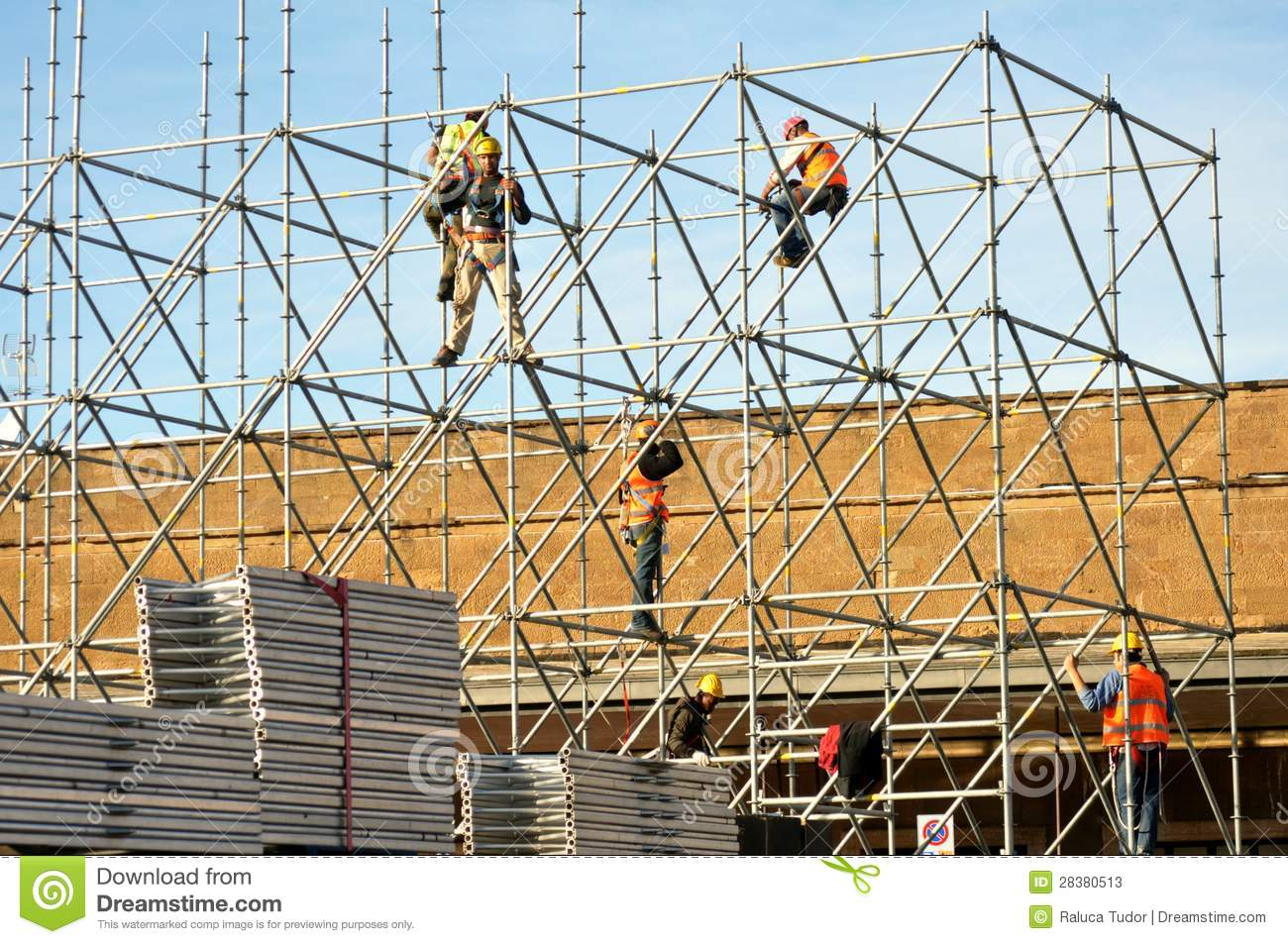 Workers Building The Stage For A Concert In Italy