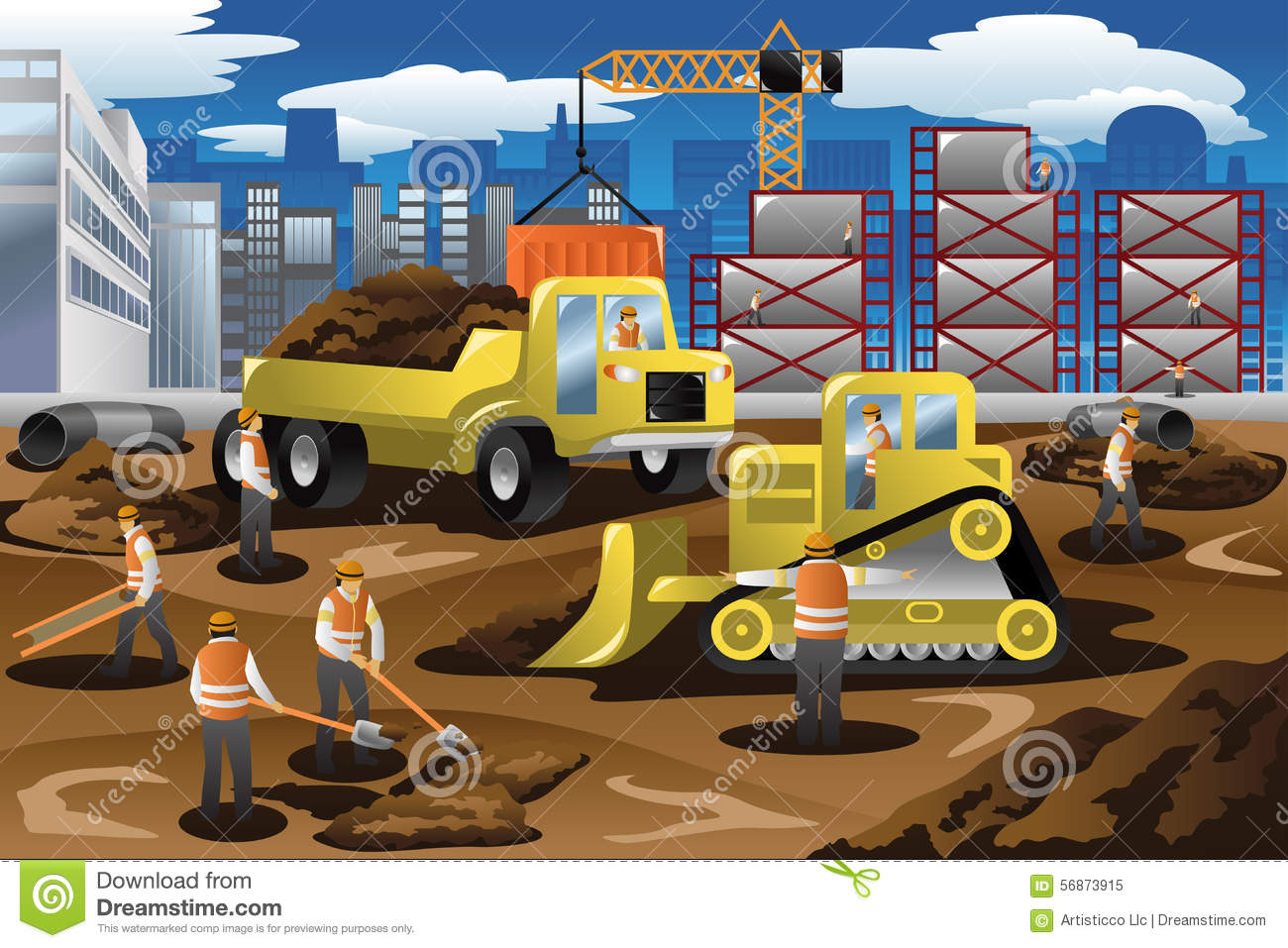 Workers In A Construction Site Stock Vector - Image: 56873915