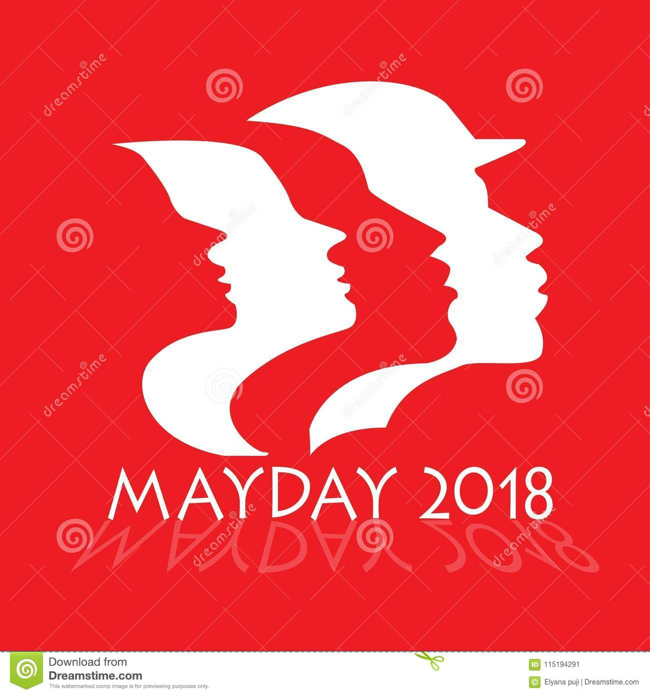 Male And Female Workers Silhouettes For The 2018 Mayday Parade Stock