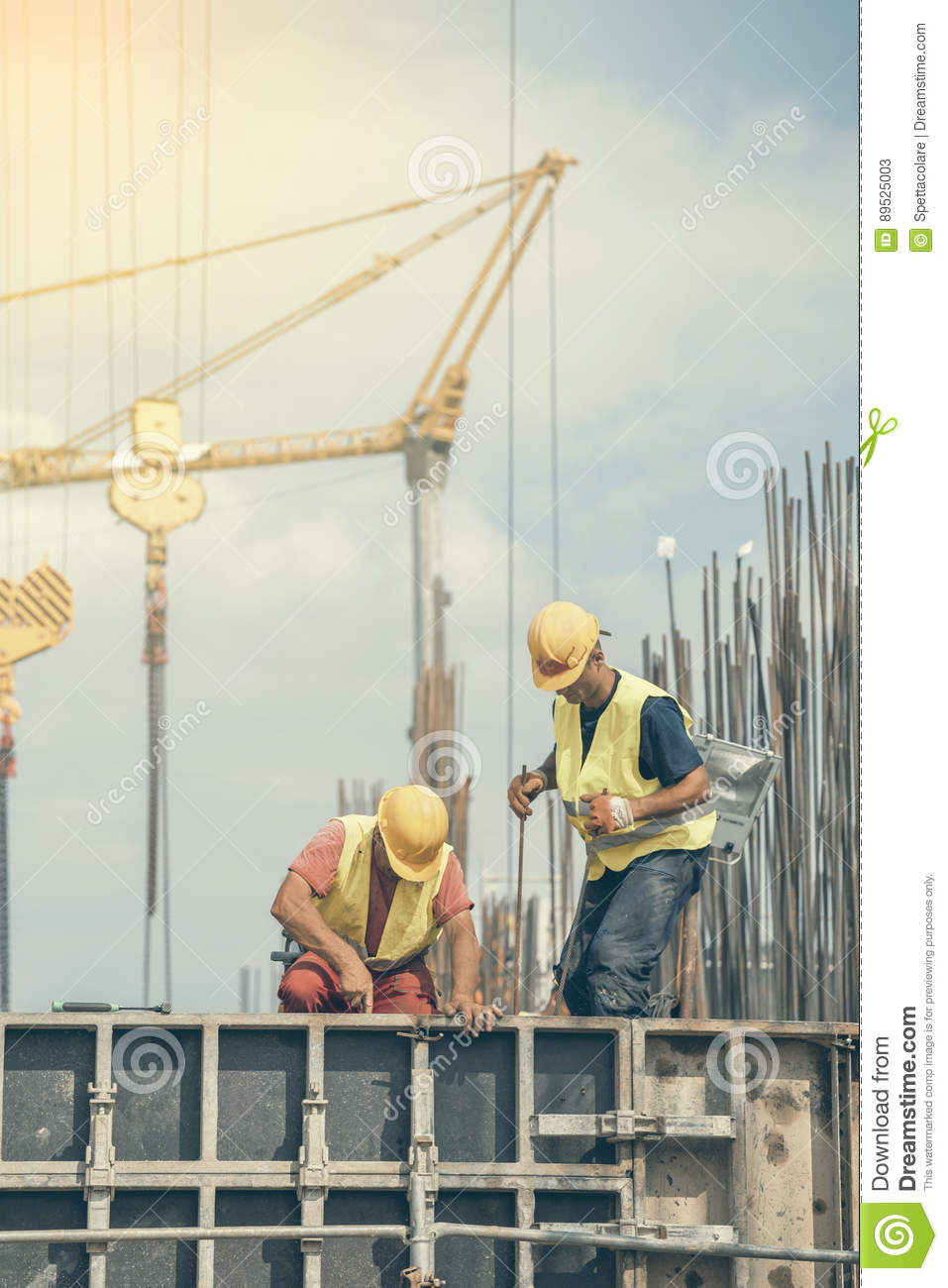 Workers During Formwork For Concrete Pouring Editorial Stock Photo