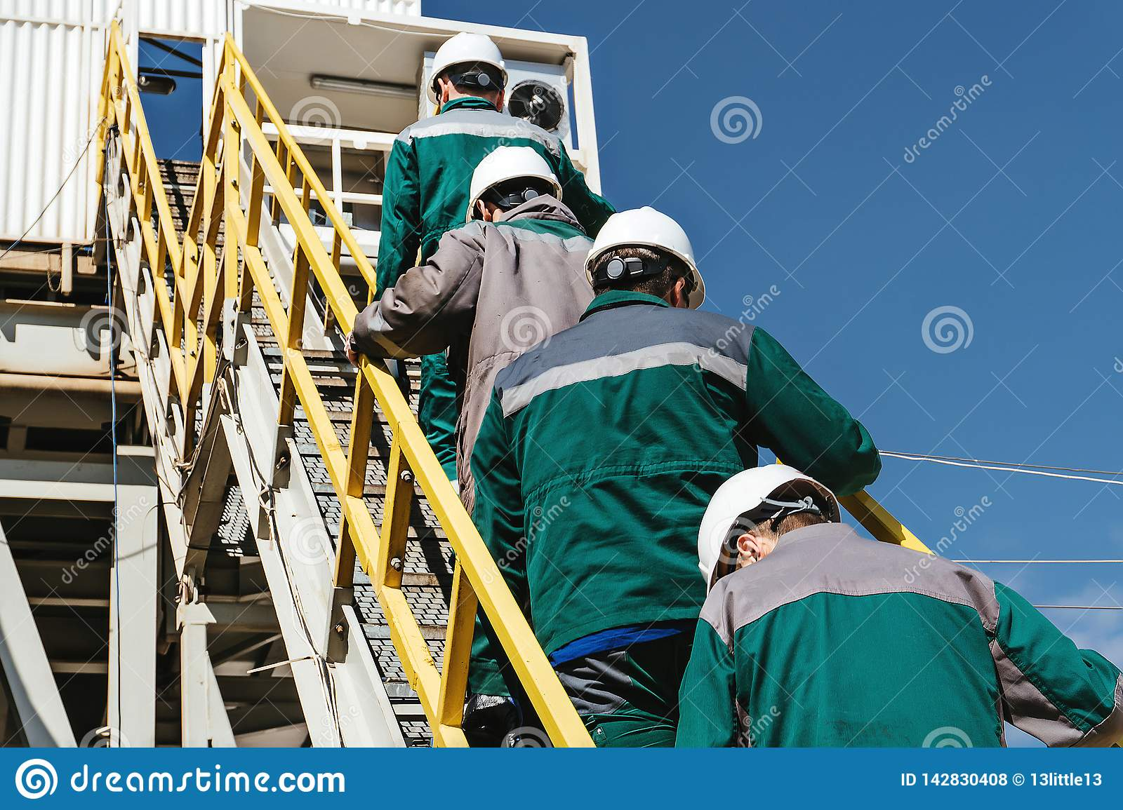 Workers go to the oil rig