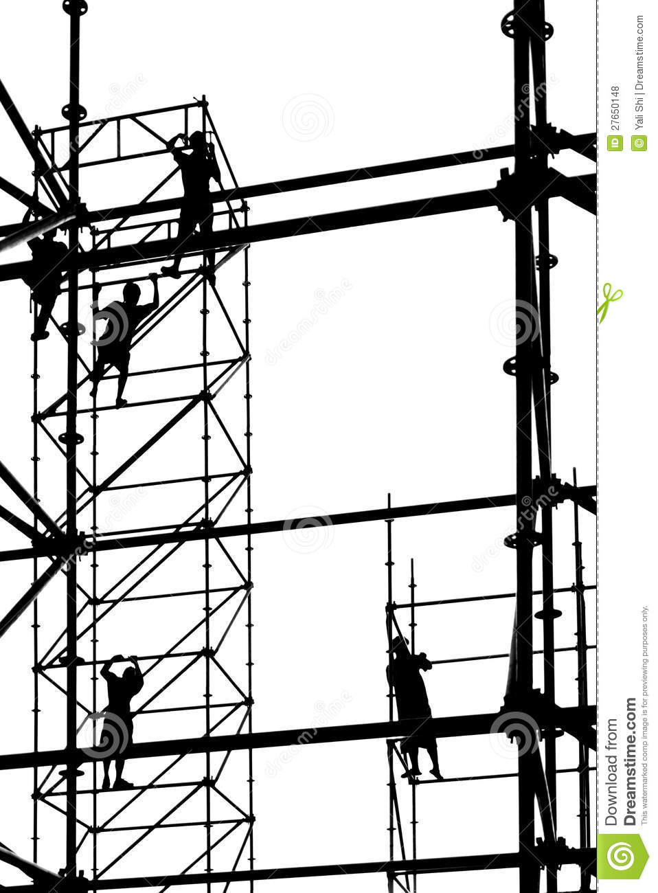 Workers High Up On Scaffolding Stock Photo Image 27650148