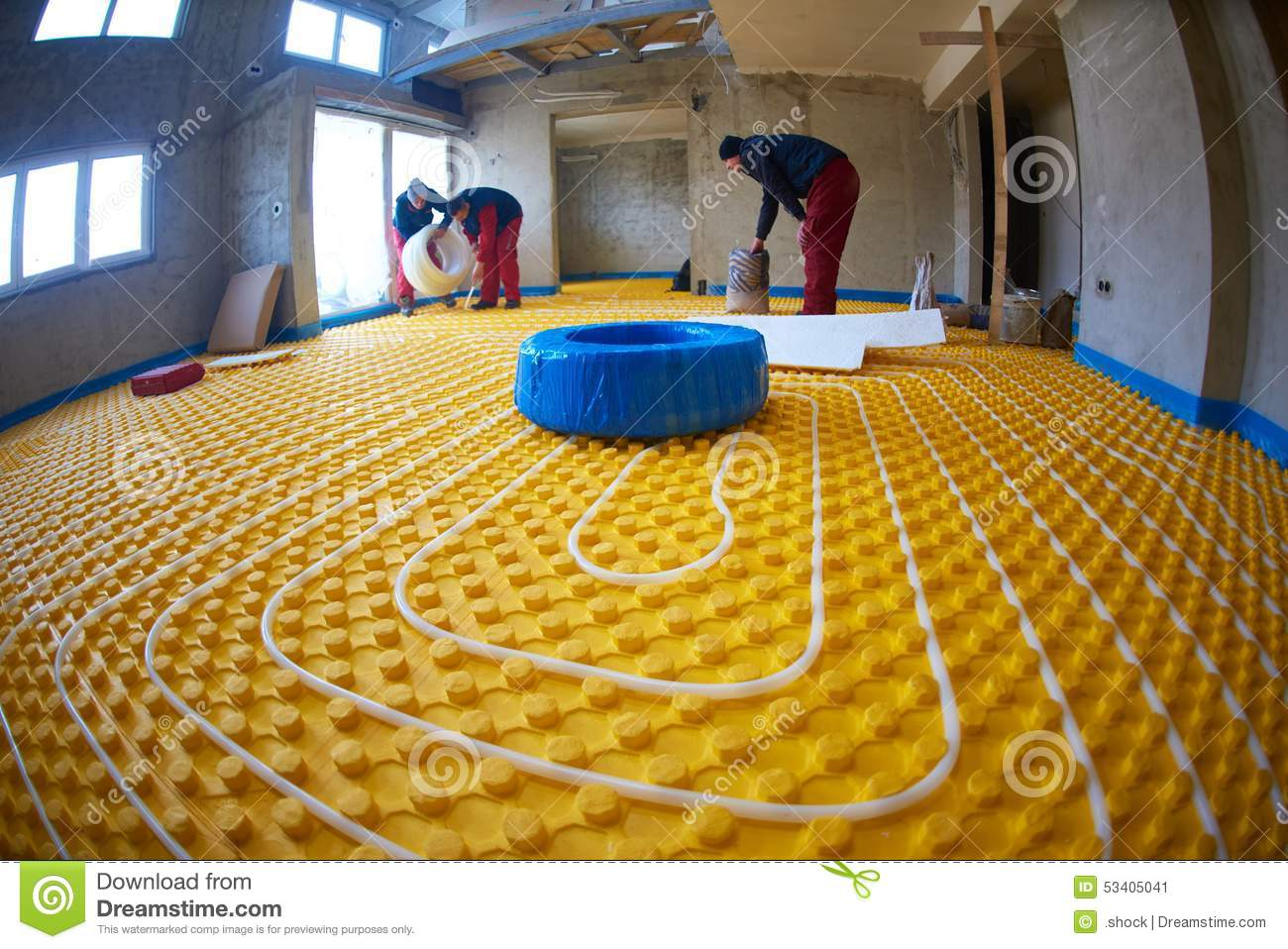 Grouo of workera installing underfloor heating and colling in modern home & Workers Installing Underfloor Heating System Stock Image - Image of ...