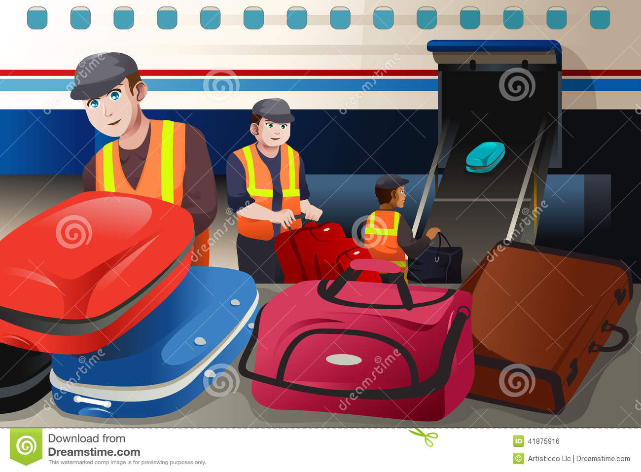 Workers Loading Luggag... Airport Cartoon Images