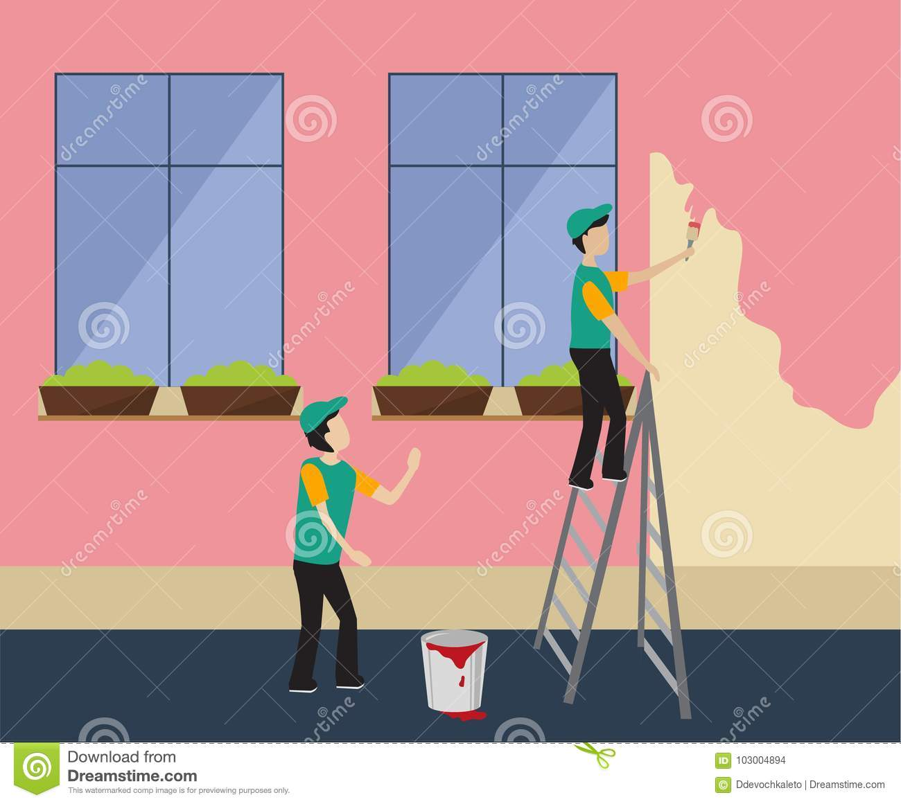 Workers Paint The Wall In Pink Stock Vector - Illustration of ...