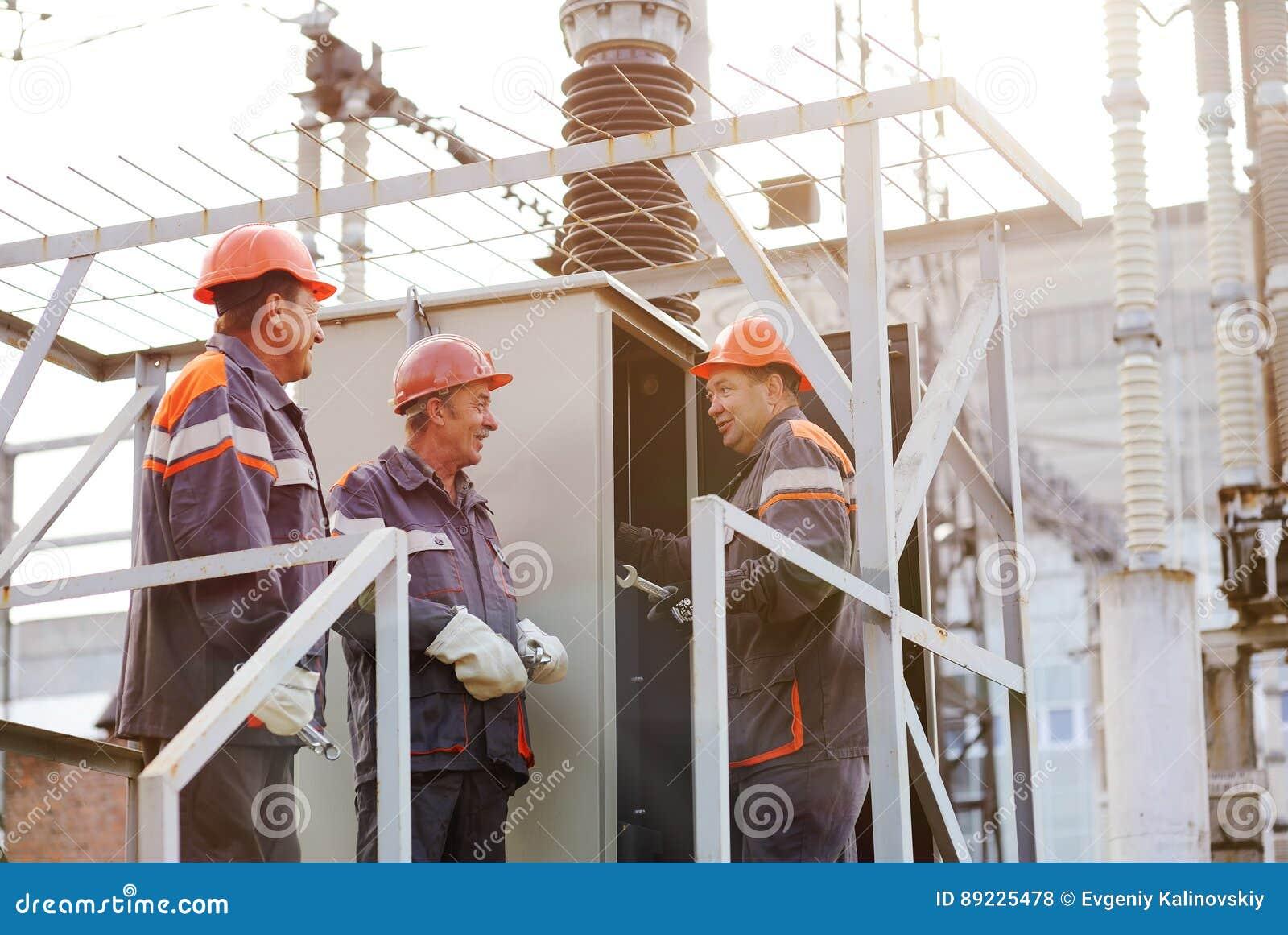 Workers Repairing Power Transformer Stock Photo - Image of
