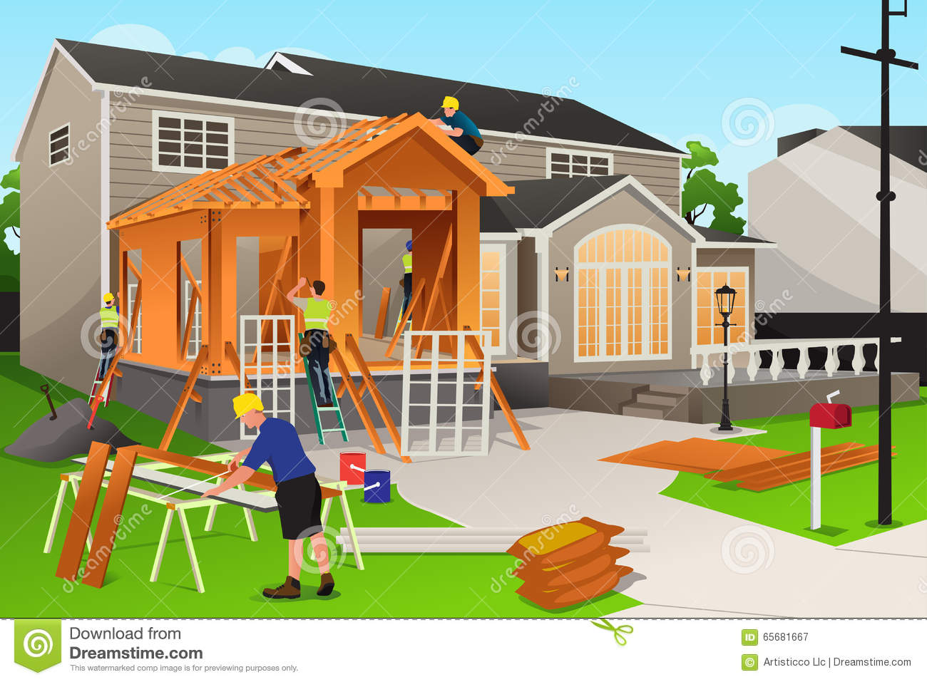 royalty free vector download workers working on home renovation