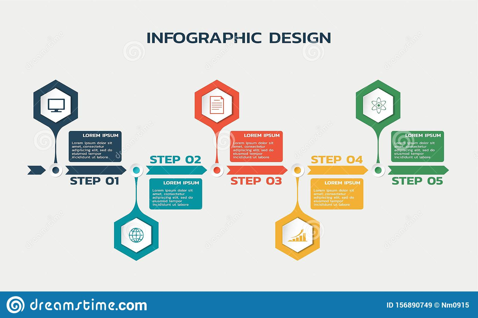 Workflow five steps infographic template with hexagons and text. business flowchart
