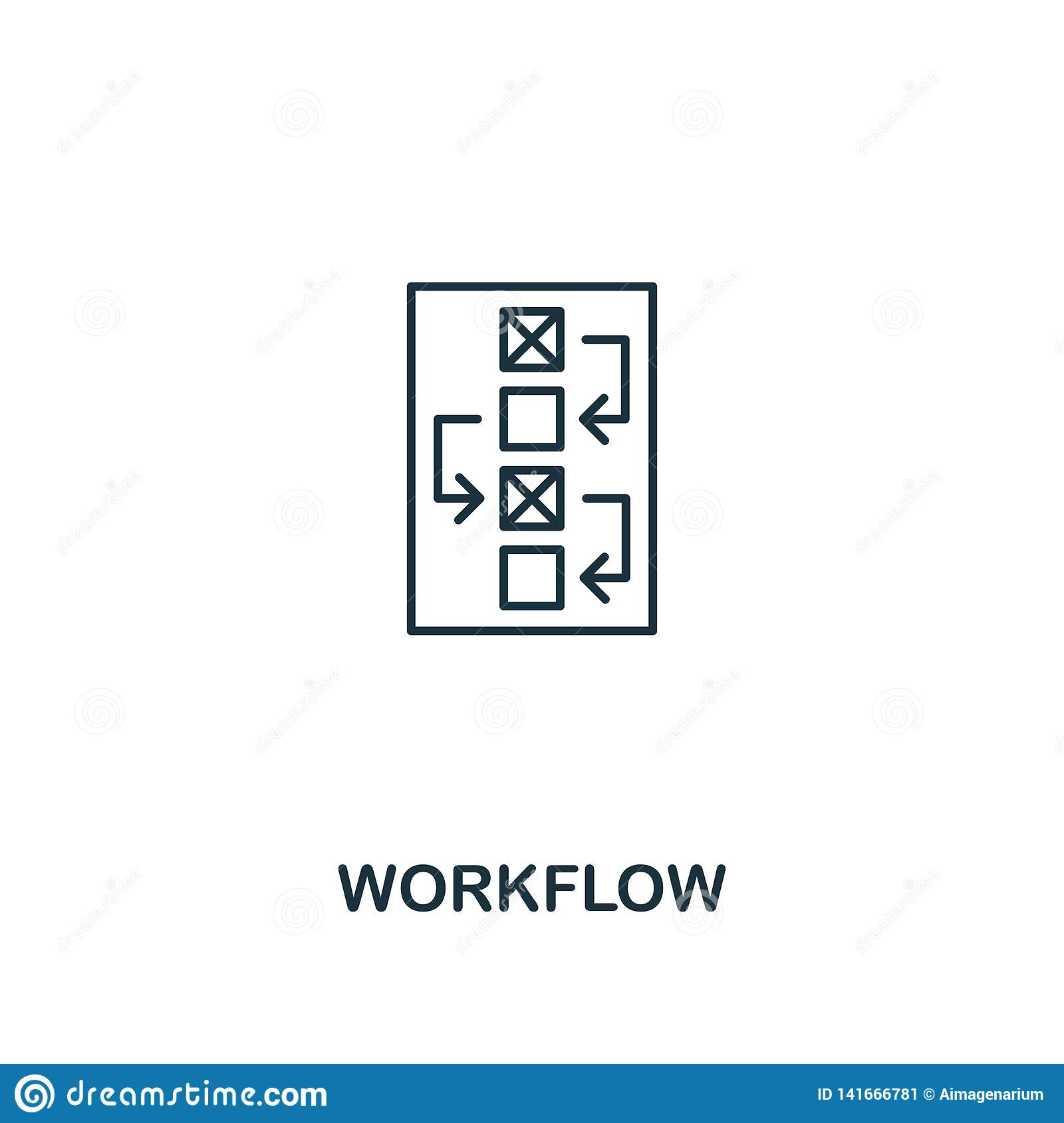 Workflow icon. Thin outline style design from design ui and ux icons collection. Creative Workflow icon for web design