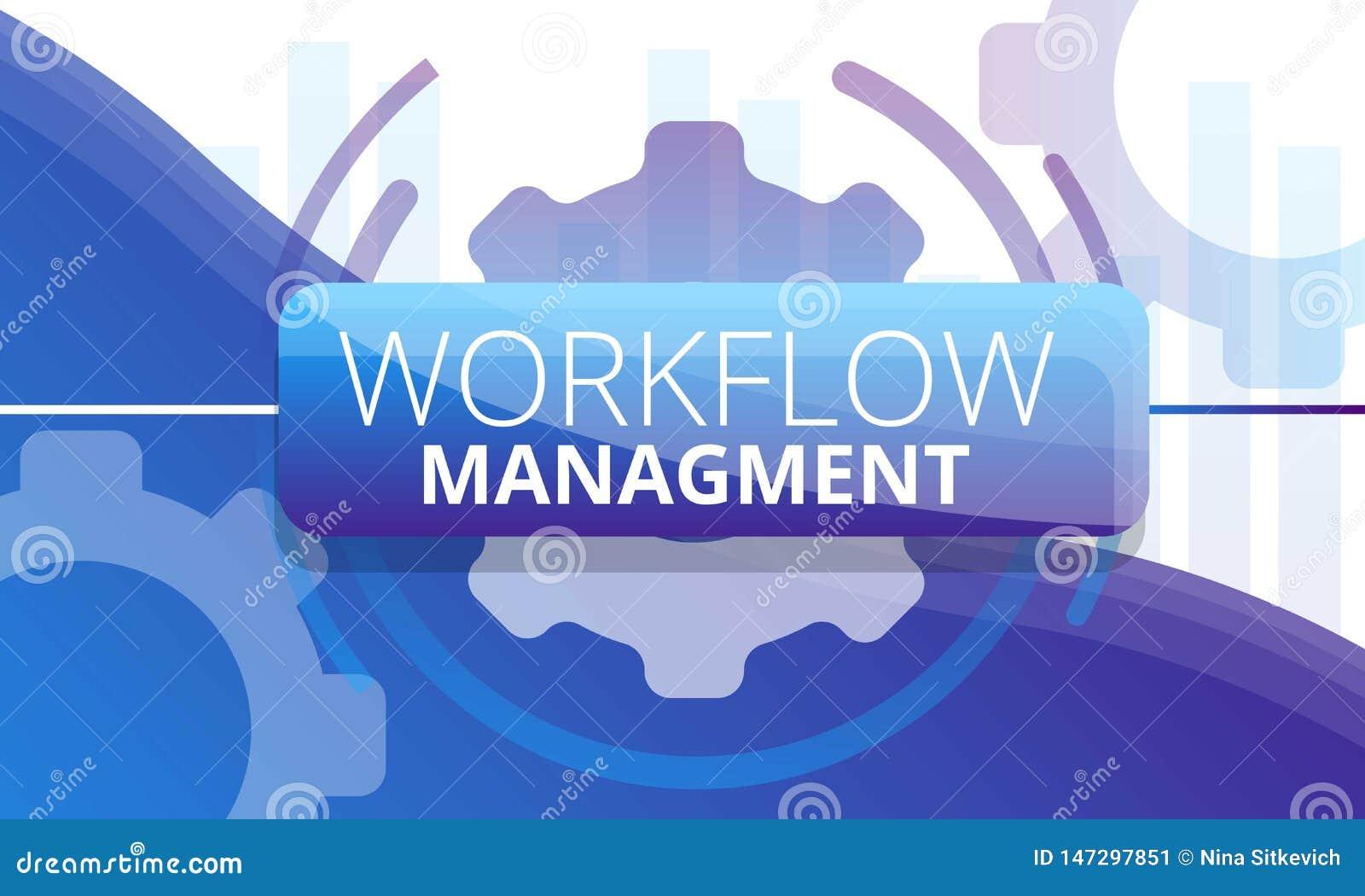 Workflow management concept banner, cartoon style