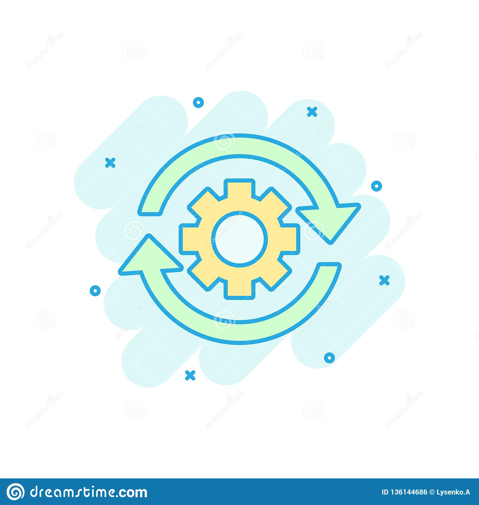Workflow process icon in comic style. Gear cog wheel with arrows vector cartoon illustration pictogram. Workflow business concept