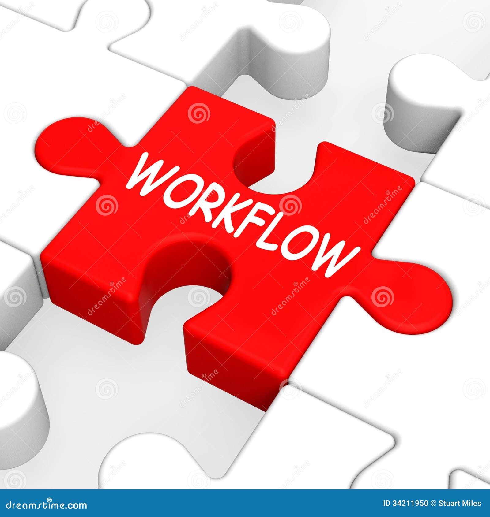 workflow puzzle shows process flow or procedure stock