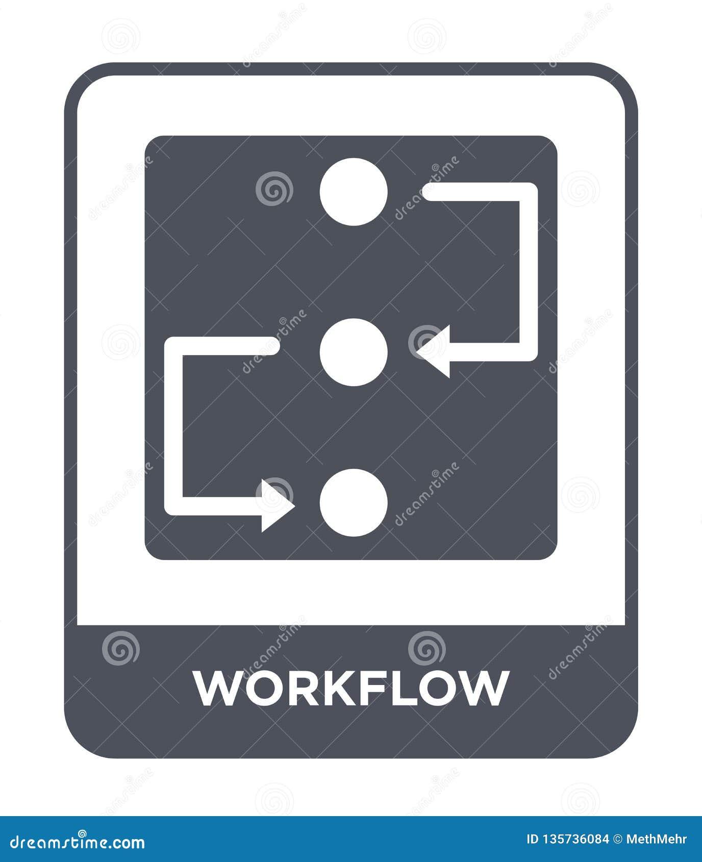 Workflowsymbol i moderiktig designstil workflowsymbol som isoleras på vit bakgrund enkel och modern lägenhet för workflowvektorsy
