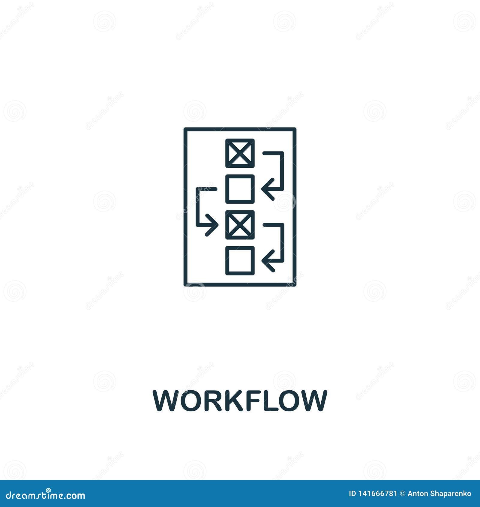 Workflowsymbol Tunn översiktsstildesign från designui och uxsymbolssamling Idérik Workflowsymbol för rengöringsdukdesign