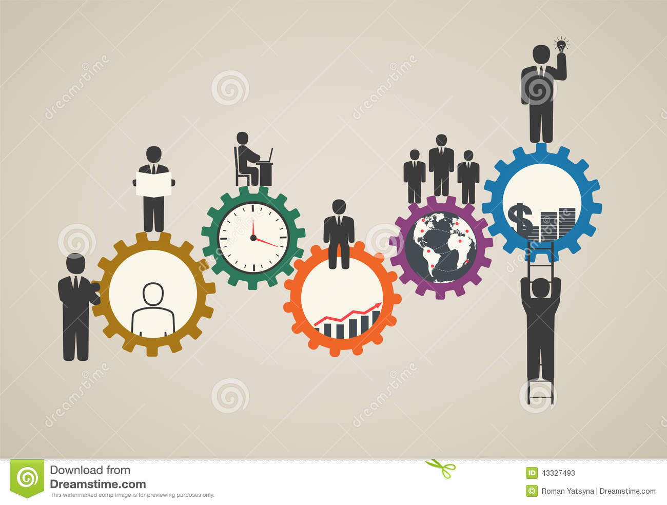 Workforce Team Working Business People In Motion Motivation For Success Stock Vector Image