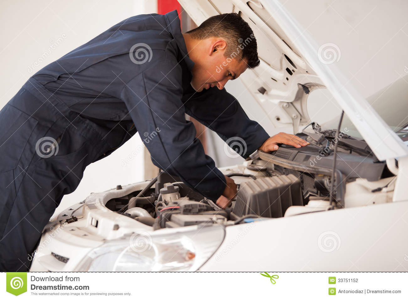 Working on a car engine