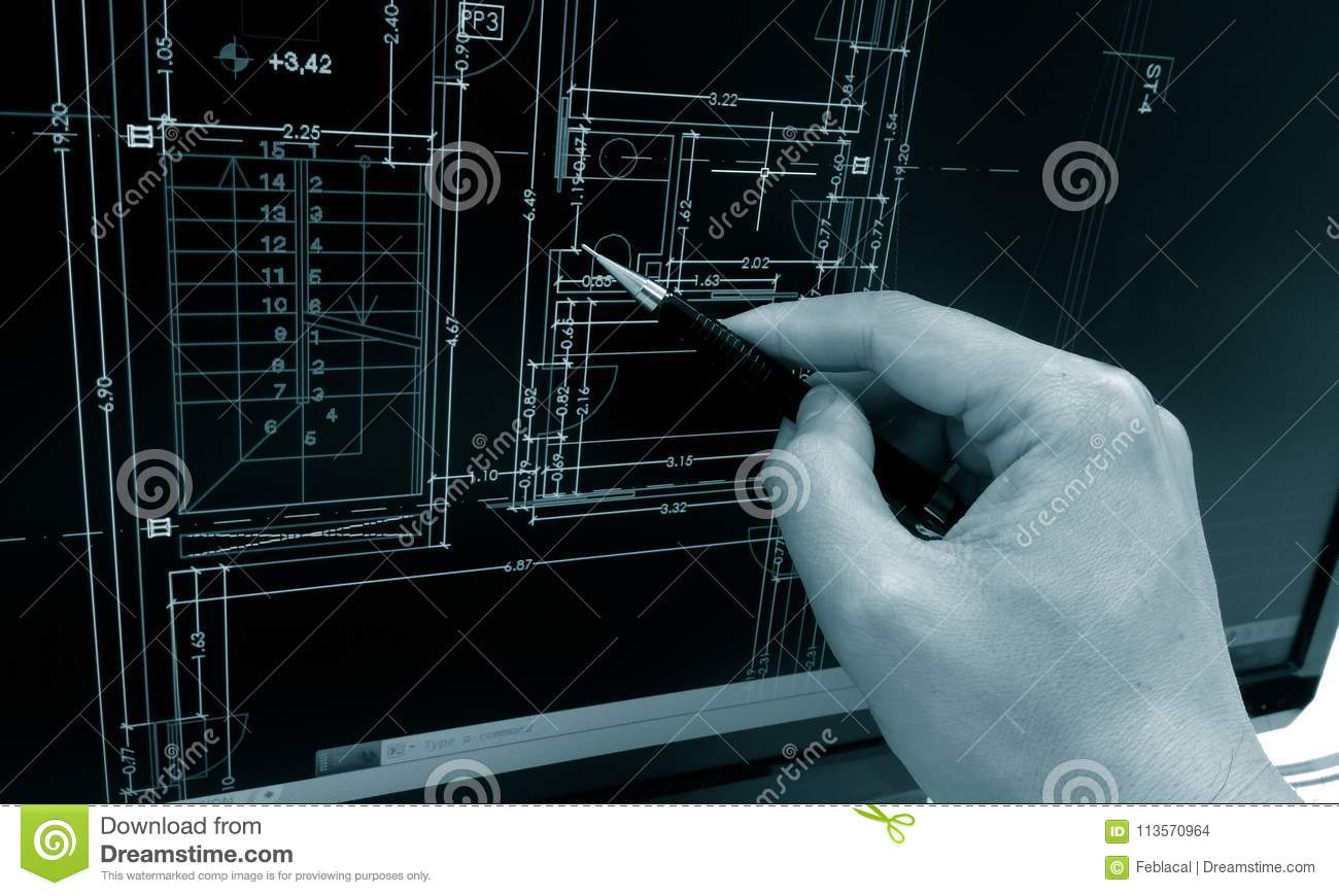 Working on computer stock photo. Image of architect - 113570964