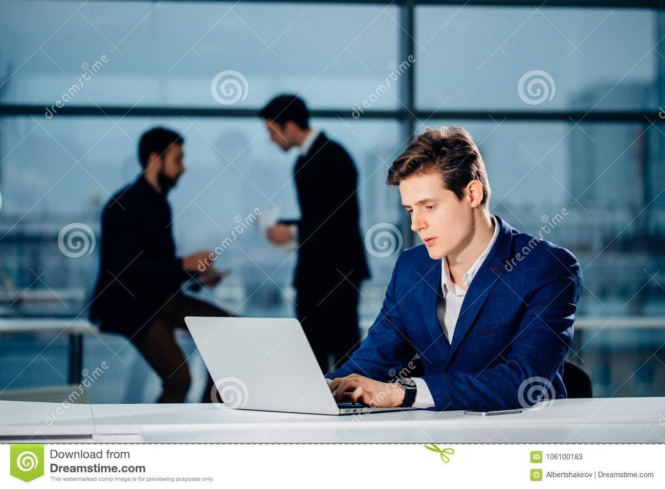 Working On Computer Laptop Online, Businessman, Person Using