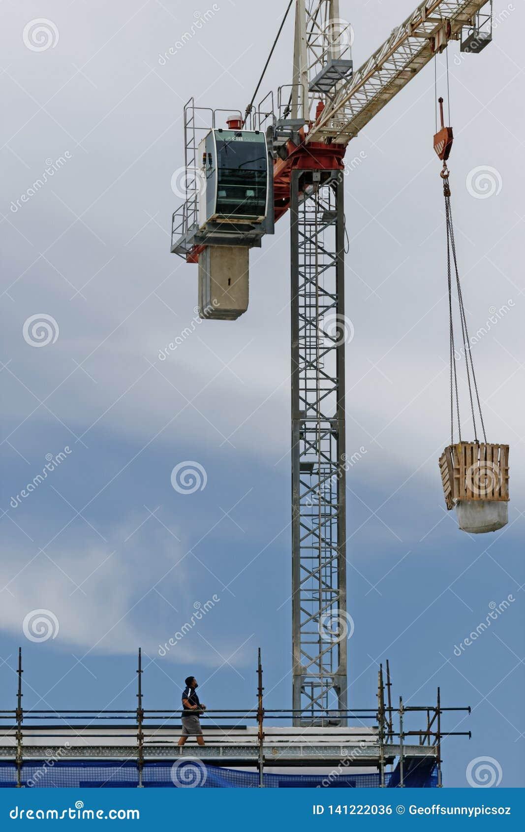 Working construction crane. Update 180 . Gosford. January 2019