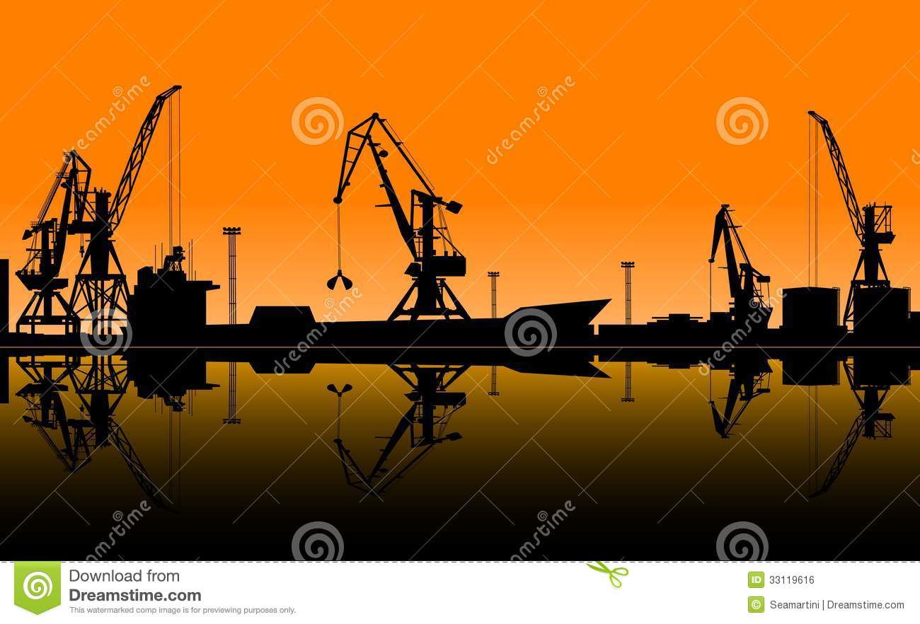 Working Cranes Unload Cargo In Seaport Royalty Free Stock