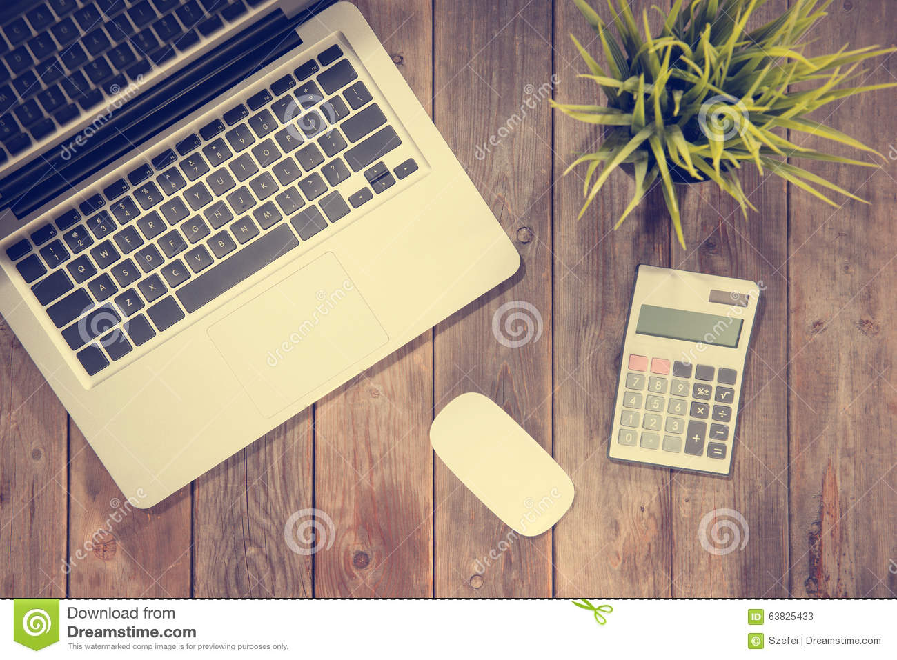 Working Desk Top View Stock Photo Image 63825433