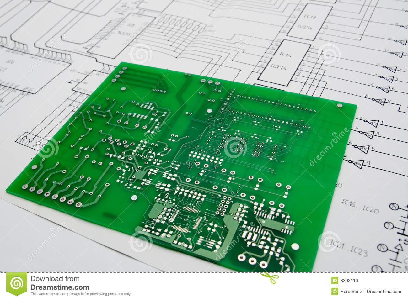 Working On An Electronic Project Stock Photo Image Of Abstract Printed Circuit Schematics Design Table With And Board