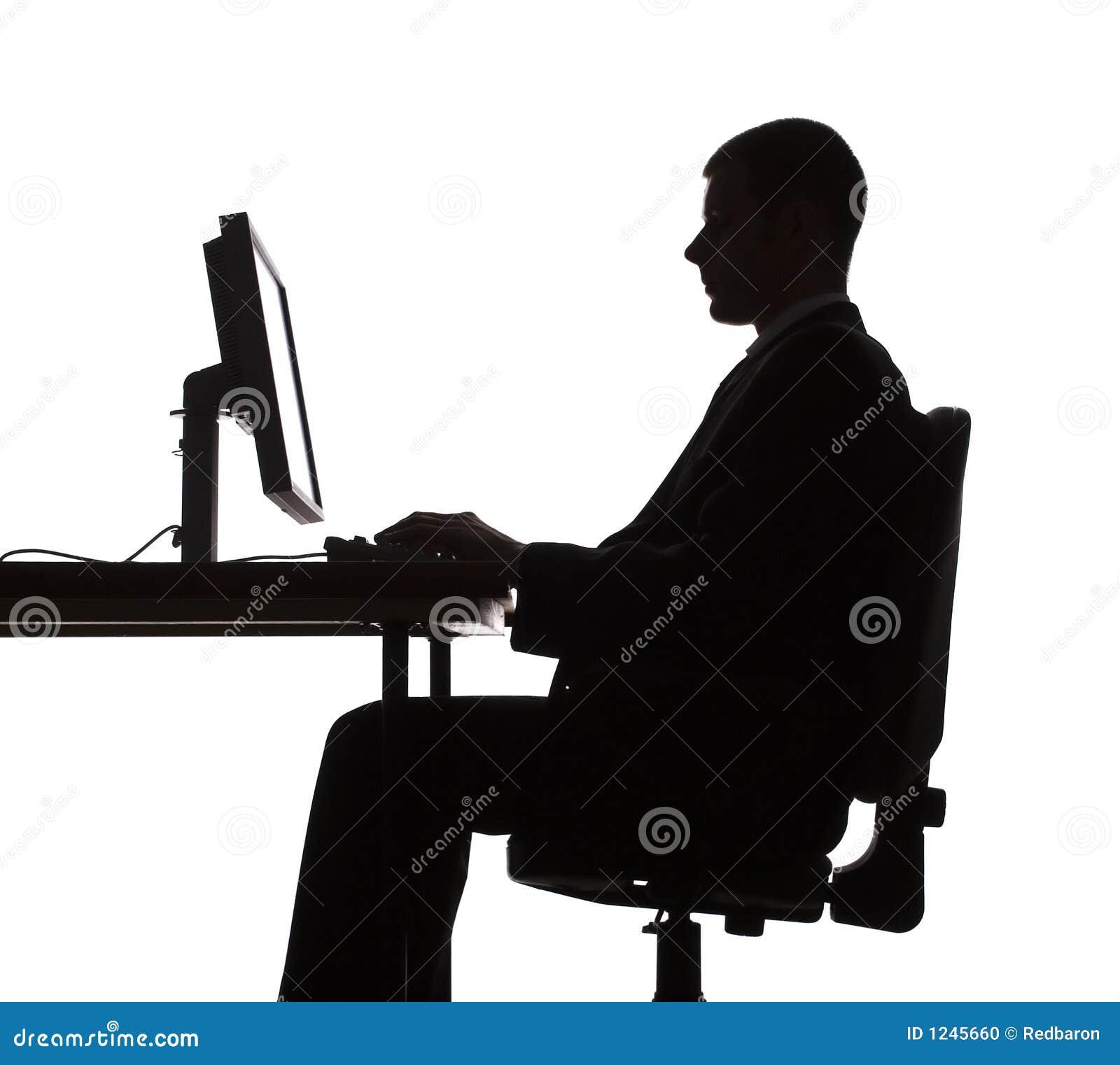 Working för silhouette för datorman