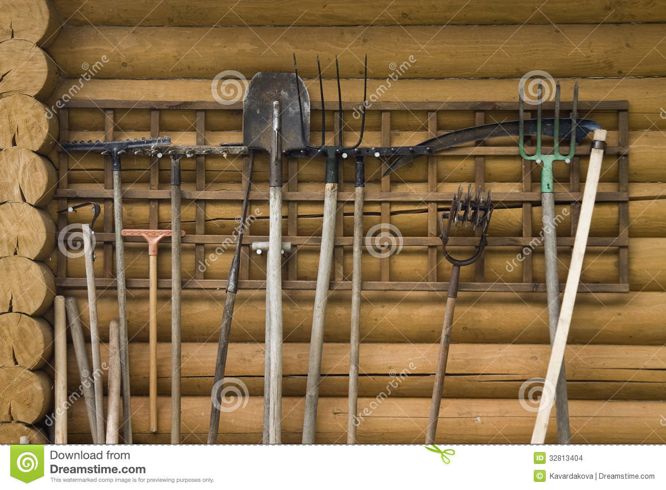 hanging tools on wall working garden tool hang on the wall stock photo image 4145