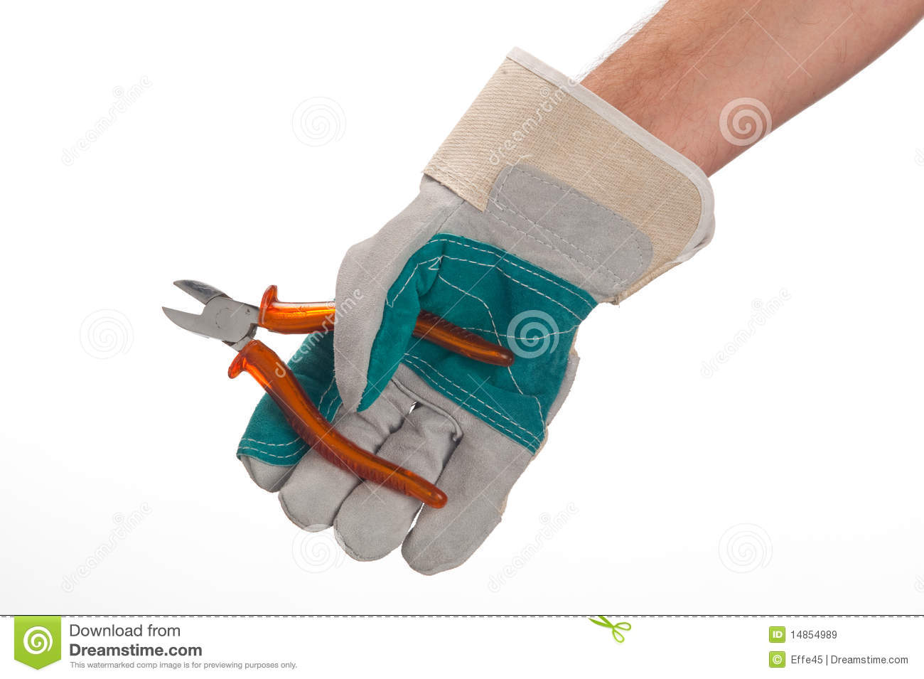 Working hands with tool