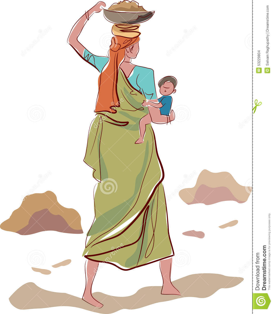 Working indian mother