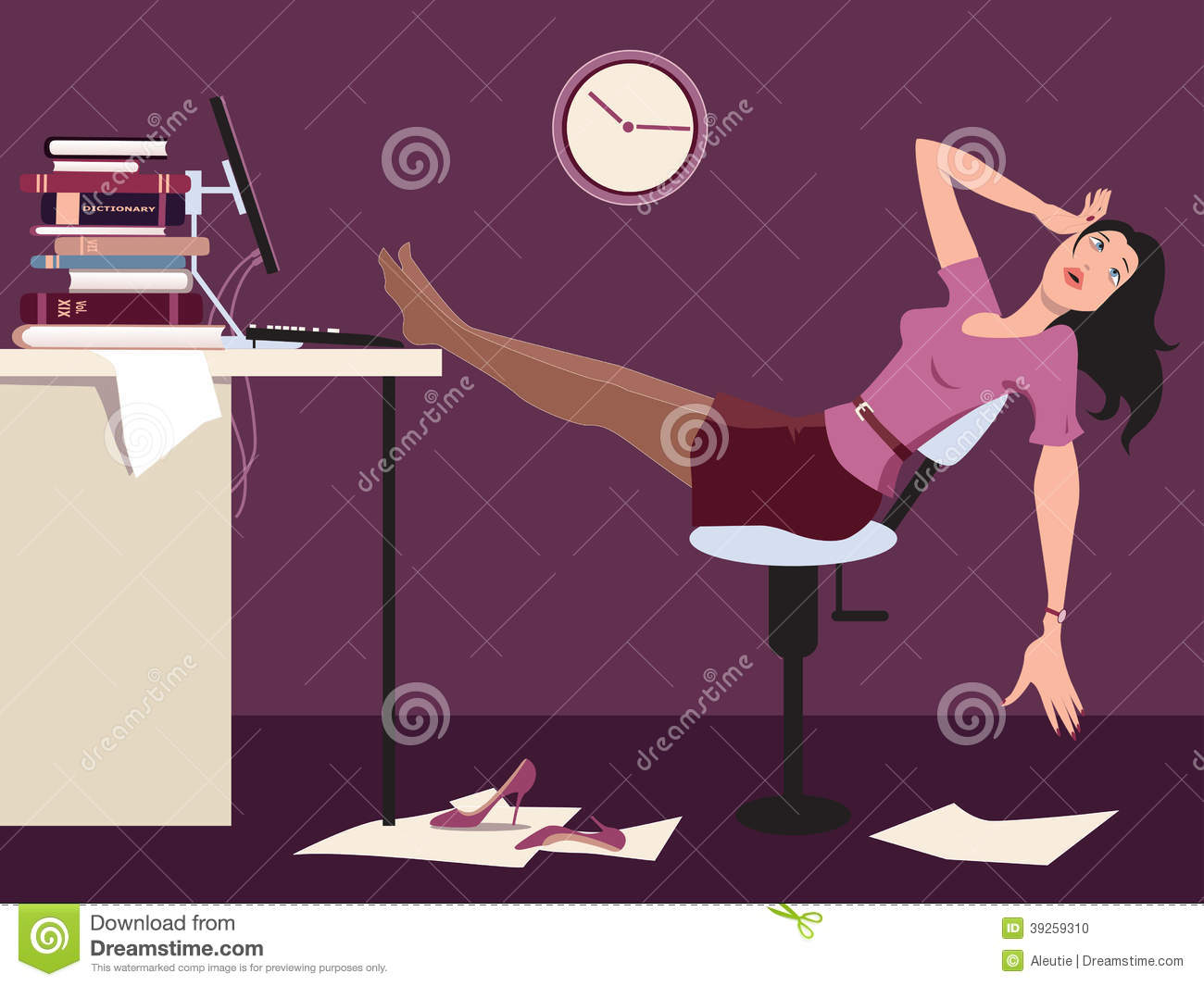 the office late at night, putting her legs on a desk, vector cartoon