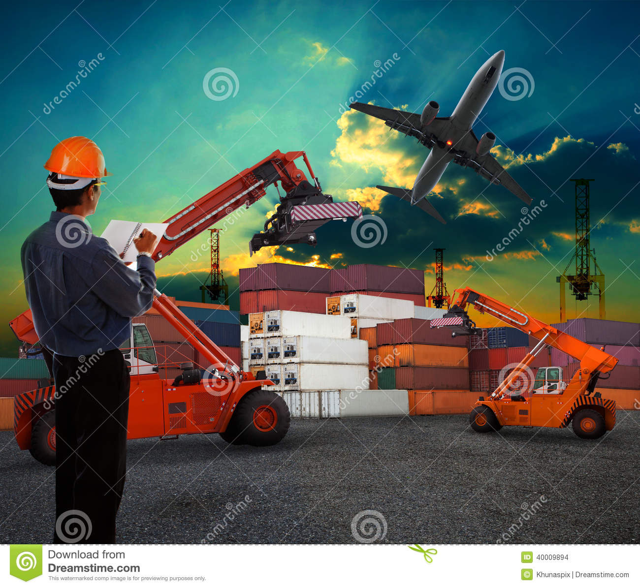 Working man in logistic business working in contai