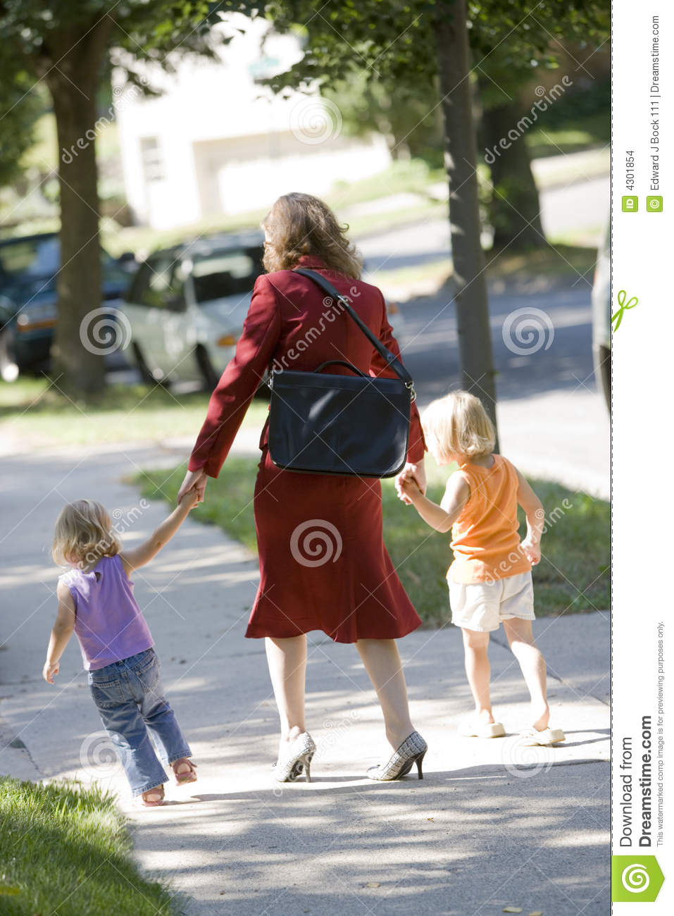 Mom Walking Kid To School