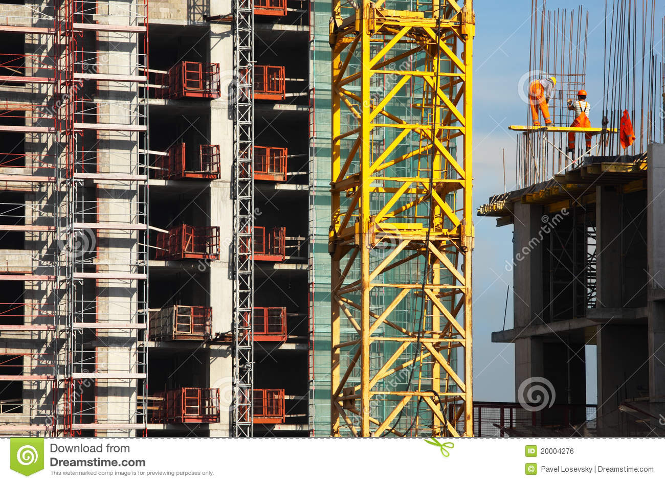 Working People Build High Rise Building Stock Photo