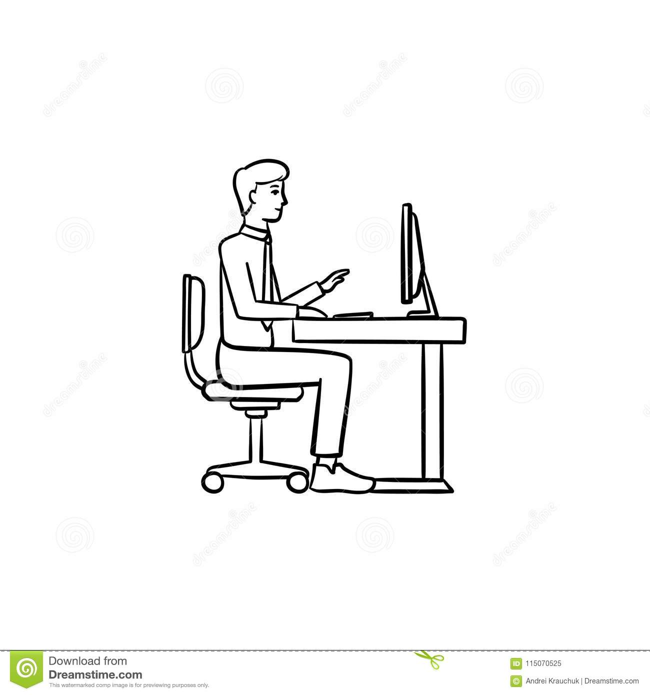 people computer person laptop icon one stock vector