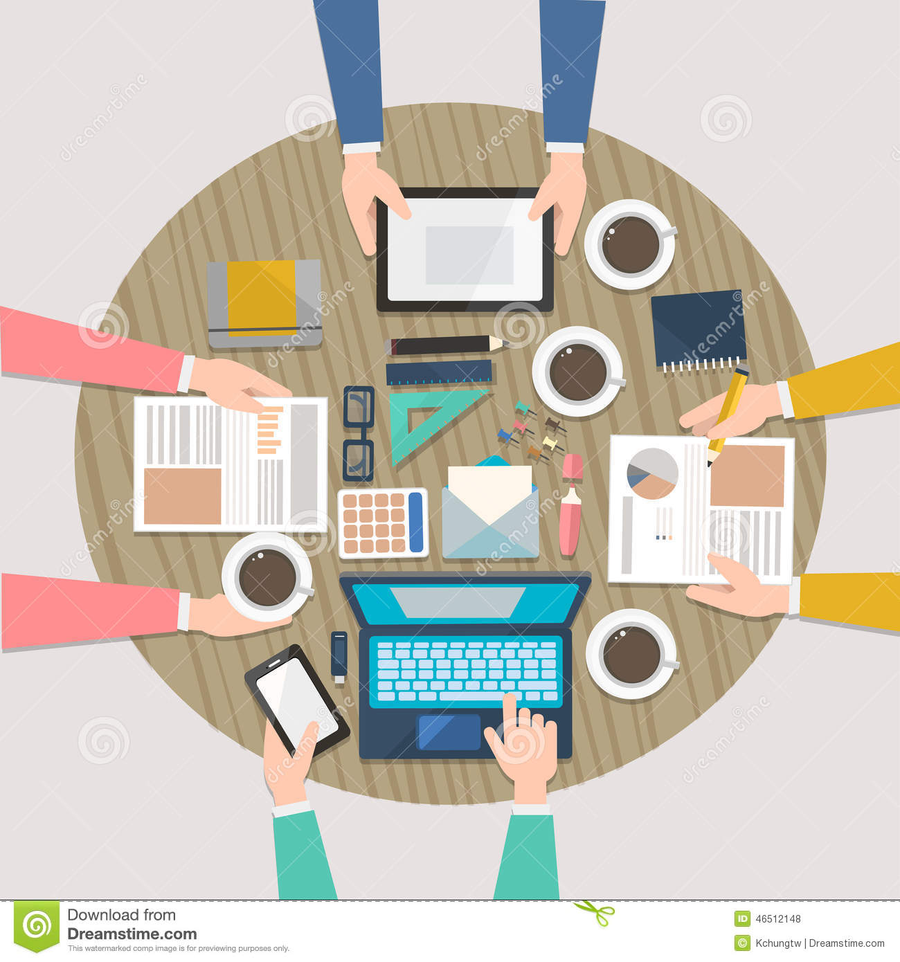 Working Place Of Creative Team In Flat Design Stock Vector - Image ...
